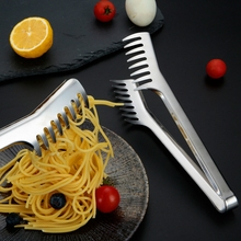 Practical 9 Inch Stainless Steel Noodle Tongs Spaghetti Food Clips Long Handle Cooking Utensils Kitchen Accessories