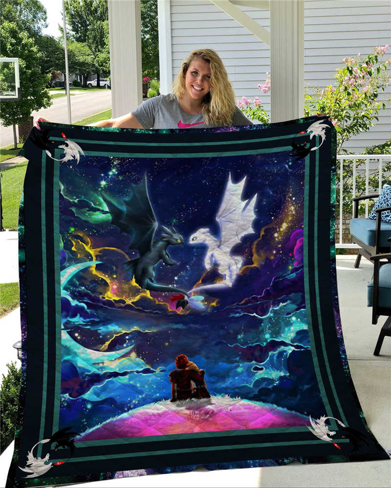 Anime How to Train Your Dragon Printed Home Sofa Cover Quilt Queen King For Bed Soft Travel Hotel Warm Blanket Cotton Quilt