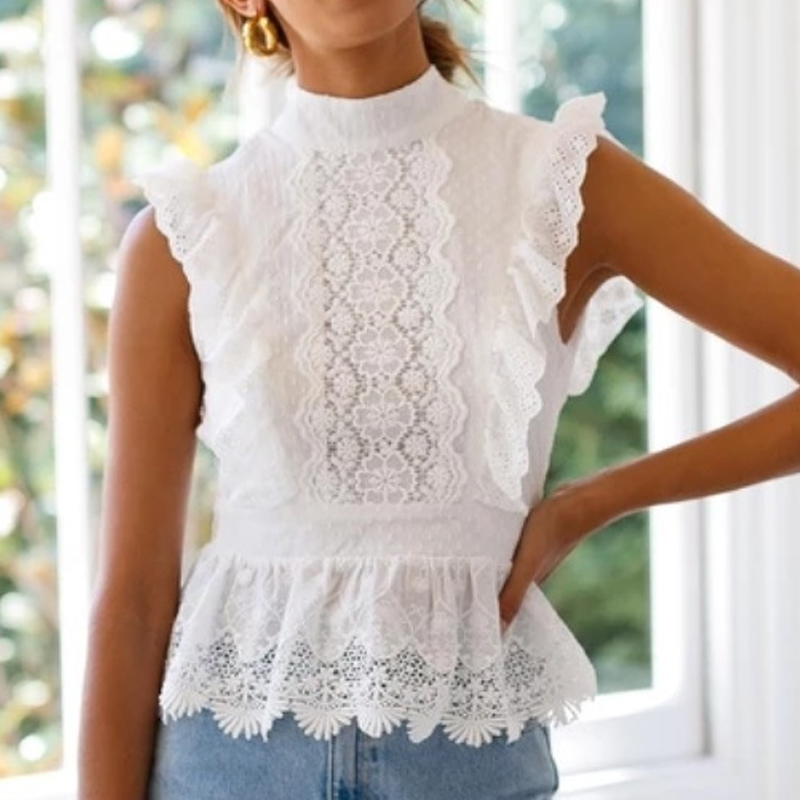 Women Backless Sexy T-Shirt Bandage Sleeveless Lace Tee Solid Tops Slim Tee Shirt Casual Tops