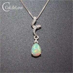 Image 2 - In argento 925 opale ciondolo per la donna 6 millimetri * 8 mm pear cut naturale In Australia opal pendente della pietra preziosa in argento sterling opale gioielli