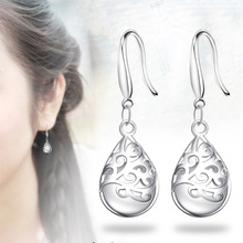 Zircon Jewelry Long Silver-Color Pink-color Dangle Earrings Popular Waterdrop Party Earring Fashion Trendy Accessories