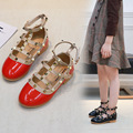 Детская модная обувь принцессы на танкетке; Летняя обувь из искусственной кожи с заклепками для девочек; детская танцевальная обувь; школьн...
