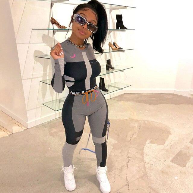 Vêtements de sport Slim, ensemble deux pièces pour femmes Fitness, manches longues, haut court, imprimé lettres, Leggings Slim élastiques