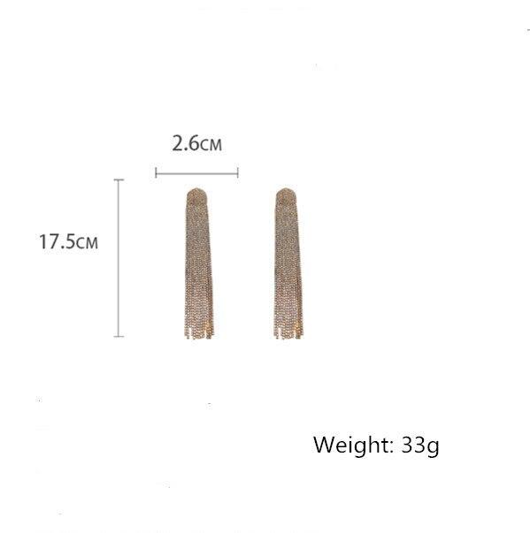 FYUAN Long Tassel Full Rhinestone Drop Earrings for Women Ovsize Crystal Dangle Earrings Fashion Jewelry Accessories 6