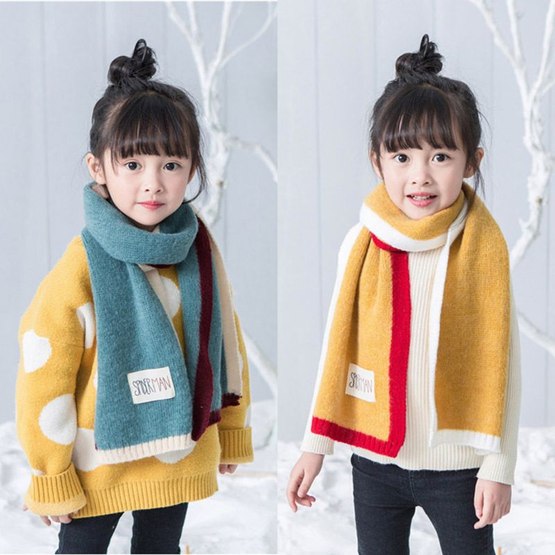 Winter Baby Girls Boys 3 Colors Patchwork Long Scarves Knitted Thicken Scarf Shawl Kids Neck Collars Warm Kids Neckerchief
