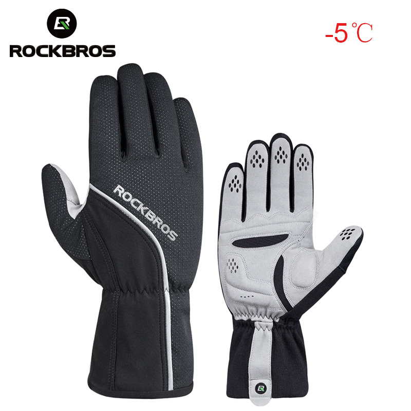 Black Winter Leather Motorbike Gloves Reflective Waterproof Padded Thermal M