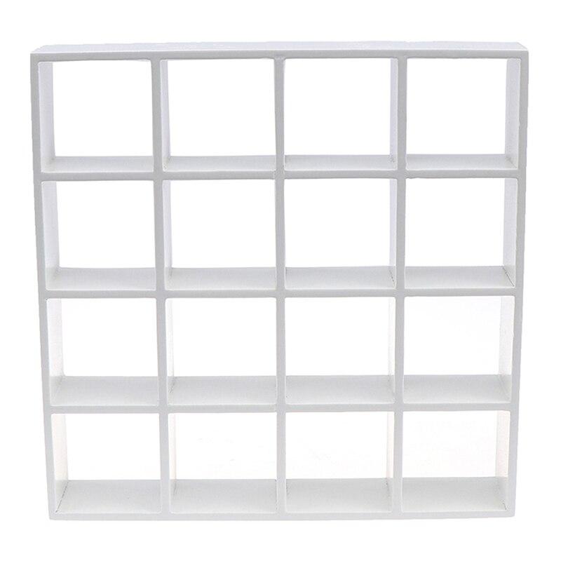 1pc branco 1: 12 casa de bonecas em miniatura rack de armazenamento de madeira 16 grade prateleiras decoração da casa de boneca