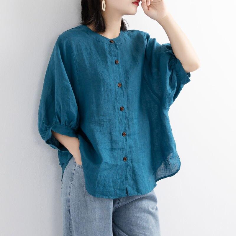 Puff manga verão camisas de linho das mulheres plus size roupas das senhoras soltas vintage tops de manga curta camisa feminina blusa casual 2020