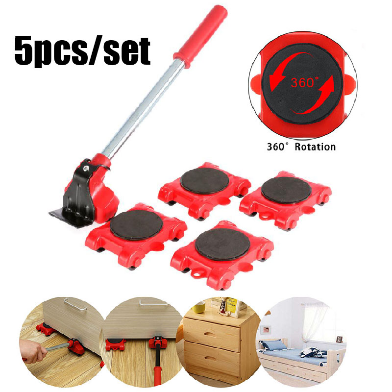 New Heavy Duty Furniture Lifter Transport Tool Furniture Mover set 4 Move Roller 1 Wheel Bar for Lifting Moving Furniture Helper-4