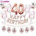 40th с днем рождения шары-цифры 40 лет День рождения украшения для взрослых сорок мужские и женские Юбилей розово-золотистый и черный