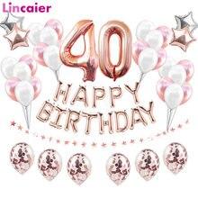 40th feliz aniversário balões número 40 anos de idade decorações da festa de aniversário adulto quarenta homem mulher aniversário rosa ouro preto
