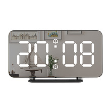 Digital Mirror Alarm Clock LED Wall Table Electronic Temperature Clocks Multifunction Watch Home Decoration Clock