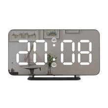 Reloj despertador Digital con espejo LED para pared reloj electrónico de temperatura multifunción, reloj de decoración para el hogar