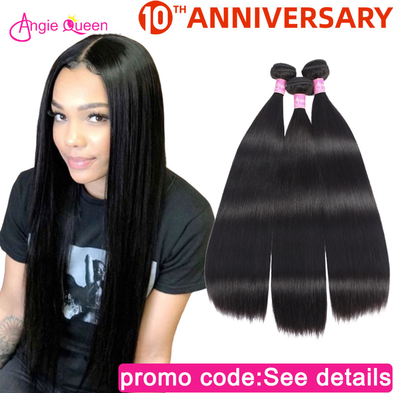 Straight Hair Bundles Brazilian Hair Weft 100% Human Hair Weaves NonRemy Hair Bundles Weaves 12 14 16 18 20 22 24 26 Angie Queen