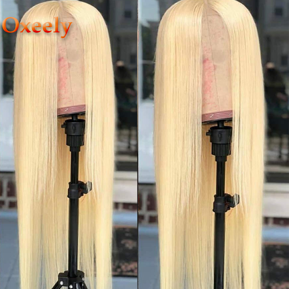 Oxeely #613 Long Straight Synthetic Lace Front Wigs For Black Women Heat Resistant Fiber Hair 180% Density Natural Blonde Wig