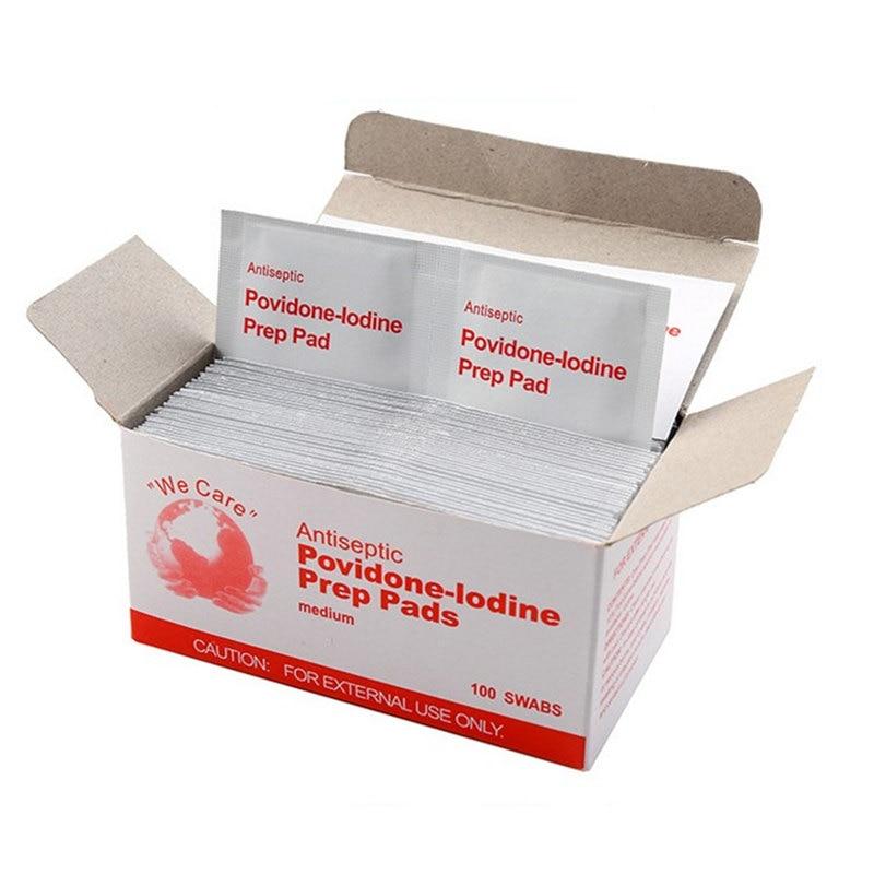20 pçs/lote comprimidos de iodo de primeiros socorros anti-sépticos povidona-lodine prep pad para almofadas de limpeza de desinfetante de emergência de primeiros socorros ao ar livre