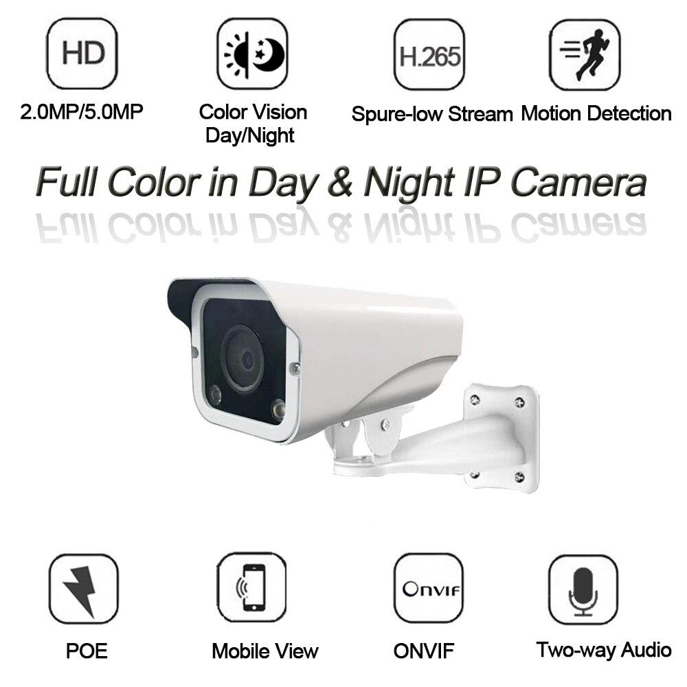 Casa câmera ip cor cheia dia & noite segurança poe câmera 2.0mp 5.0mp hd p2p bala ao ar livre à prova dwaterproof água cctv câmera