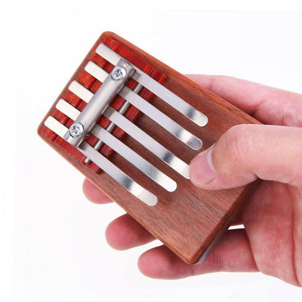 Perfeito para Crianças Kalimba Rosewood Mbira Crianças Mini Guitarra Polegar Piano Instrumento Musical Tradicional Presente 5-key