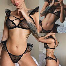 Ensemble de Lingerie en dentelle pour femmes, Sexy, soutien-gorge + string, noir, vêtements de nuit, nouvelle collection