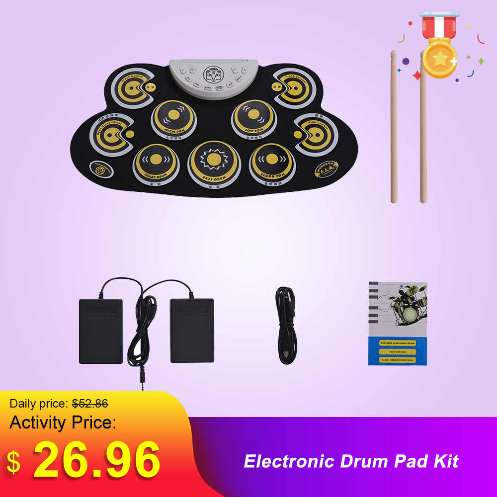 Tragbare Elektronische Drum Pad Silikon Roll Up Drum Set mit Trommel Sticks Fuß Pedale Cartoon Design Digital Drum für Anfänger