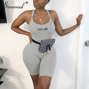 Simenual Backless One Piece Women Rompers Ribbed Bodycon Sleeveless Workout Playsuits Fashion Letter Embroidery Sporty Outfit