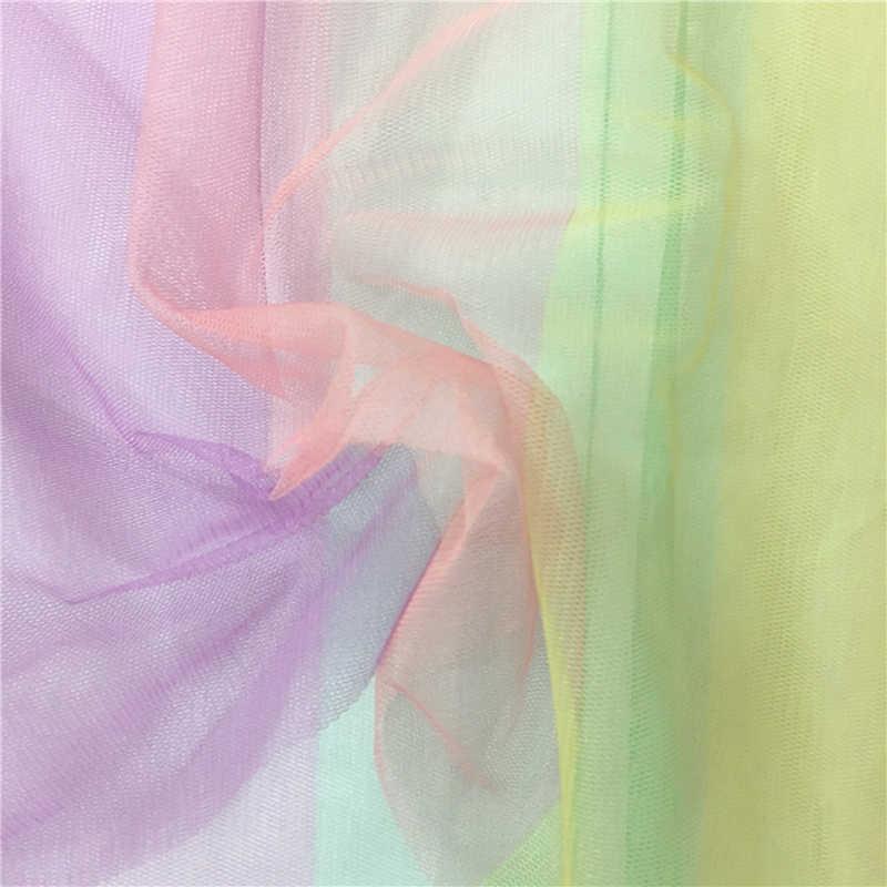 2019 ثوب نسائي ساخن ملون توتو شبكة تنورة المرأة مرونة عالية الخصر قوس قزح مخطط شفاف تول توتو ميدي تنورة