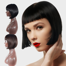 цена на LIHUI bobo Hairstyle Cosplay wigs Straight Black Synthetic Wigs With Bangs For Women Medium Length Hair Bob Wig Heat Resistant