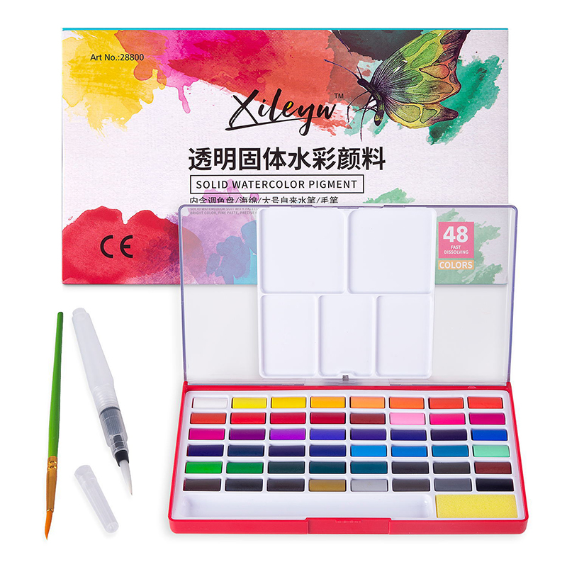 Solid Pigment Watercolor Paints With Watercolor Brush Pen Set 12/18/24/36/48 Colors Portable Travel For Painting Art Supplies