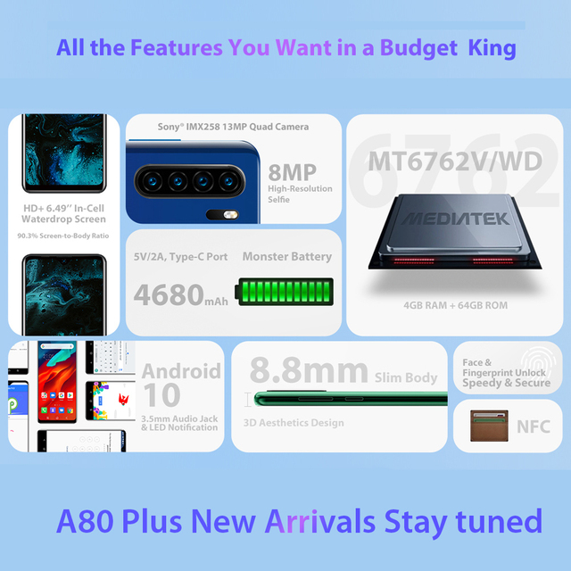 Blackview A80 Plus Smartphone Quad Rear Camera Mobile Phone 4680mAh 6.49'' HD+ 4GB+64GB Octa Core Android 10 NFC 4G Cellphone 4