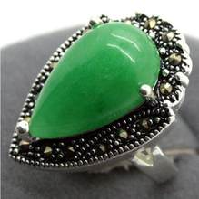 Jewelry Pearl Ring wholesale Natural Green Natural jade Drop Gems 925 Sterling Silver Marcasite Ring Size 7/8/9/1 Free Shipping(China)