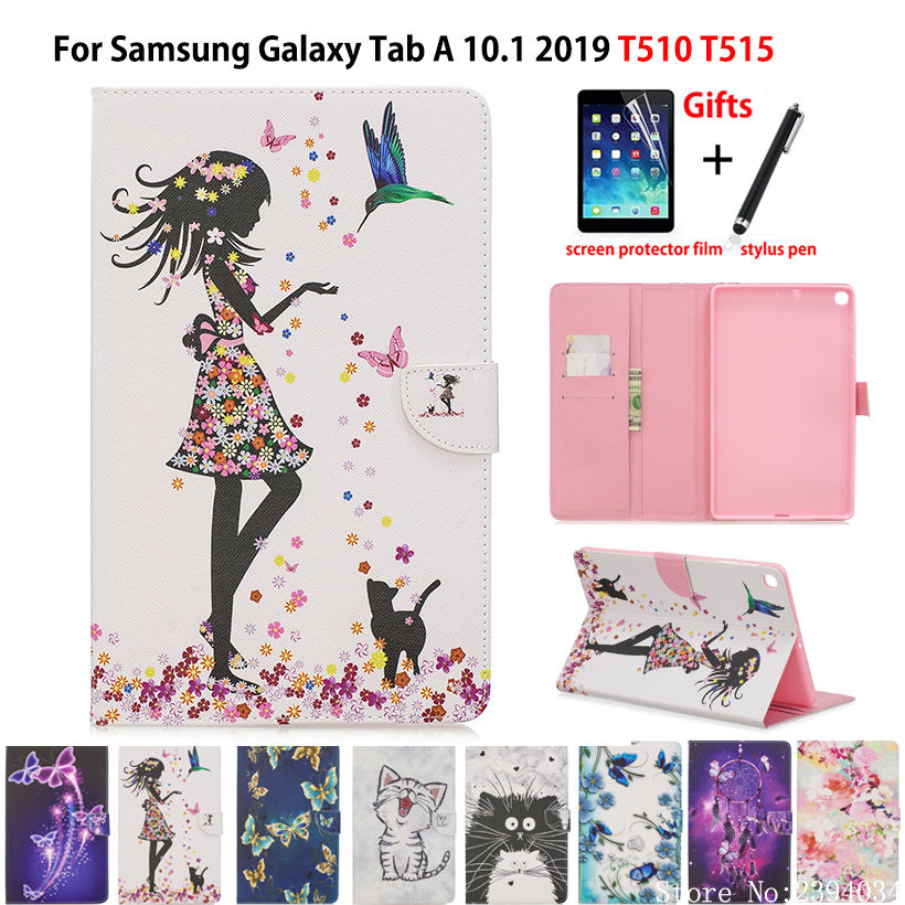 Tablet Case For Samsung Galaxy Tab A 10.1 2019 T510 T515 SM-T510 SM-T515 Cover Funda Fashion Girl Cat Flip Stand Skin Capa +Gift