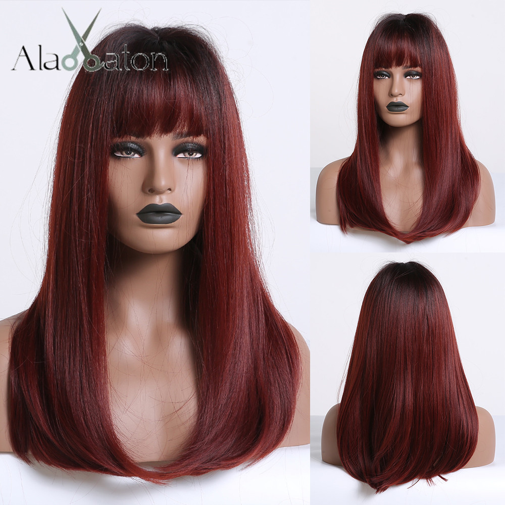 ALAN EATON Long Ombre Black Wine Red Straight Synthetic Wigs with Bangs Heat Resistant Hair for Black Women Cosplay Party WigsSynthetic None-Lace  Wigs   -