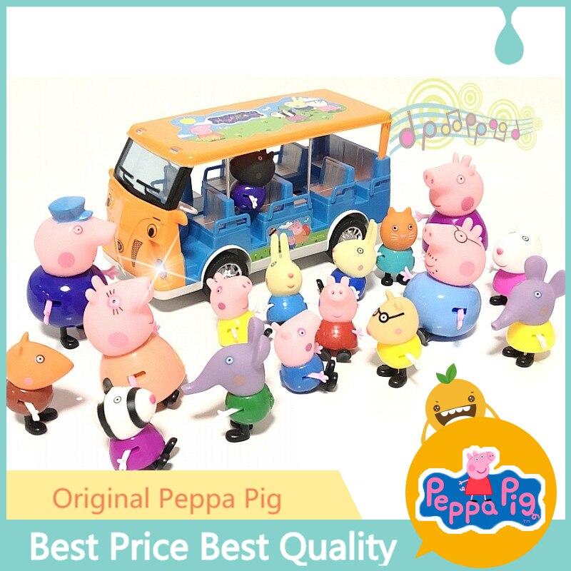 Original Peppa Pig Toy Set Peggy Bus School Bus Light Car Home House Light Music Room Study Desk Aircraft Boy Girl Birthday Gift