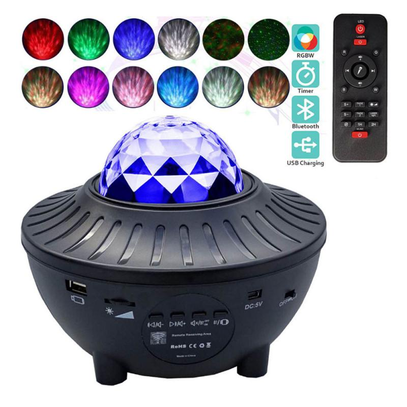 Lámpara de proyección de marca de agua estrellada por USB, proyector de estrellas por Bluetooth de música, lámpara de noche con forma de estrella, proyector para decoración de habitación
