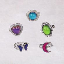 Anéis retrô ajustáveis de cor prata, para mulheres, controle de temperatura, cor, coração, oval, redondo, borboleta, joias da moda 2020