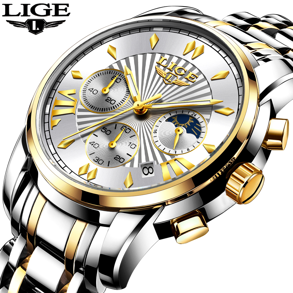 2020 LIGE Luxury Watch Man Chronograph Sport Mens Watches Quartz Clock Full Steel Male Wristwatch Relogio Masculino Gift for Men 1