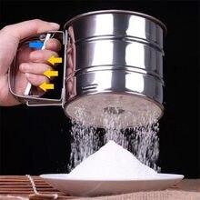 Peneira de malha de aço inoxidável handheld do abanador de farinha copo de gelo ferramenta de cozimento de açúcar mão-pressionado bakeware peneiras