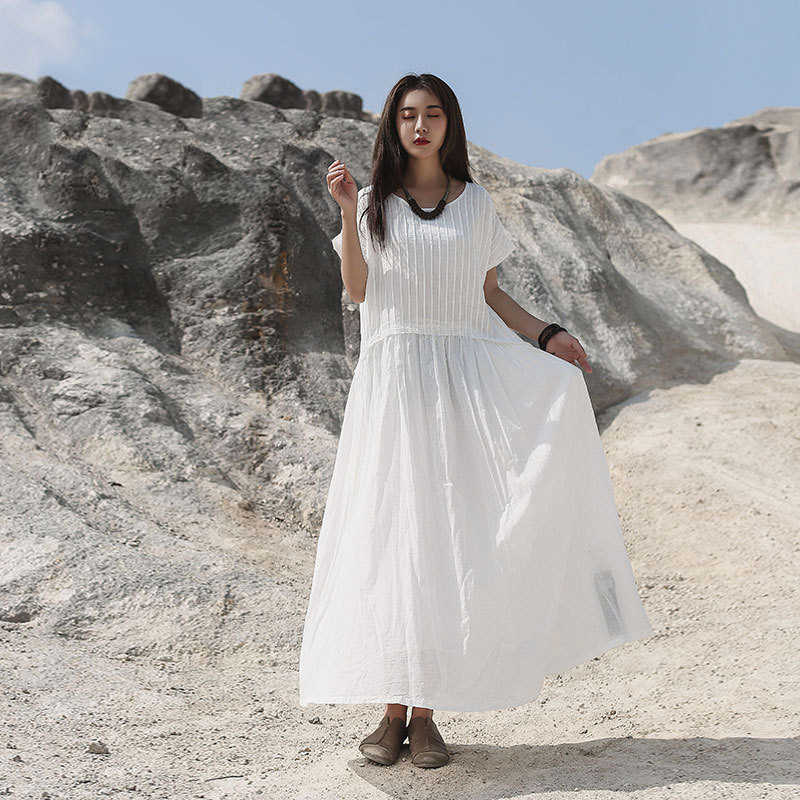 NINI PAESE DELLE MERAVIGLIE Vestito delle Donne 2020 di Estate Veste di Cotone Bianco Vestiti Delle Signore Manica Corta Allentato Vestito Longuette Vestiti di Grandi Dimensioni viola