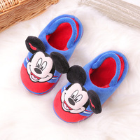 Indoor cartoon soft velvet half bag with thickened children's cotton slippers WJH376