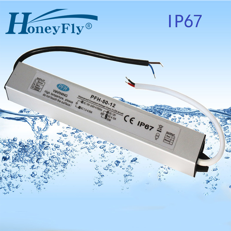 HoneyFly Patented IP67 Waterproof LED Driver 50W 12V 24V 36V 48V LED <font><b>Power</b></font> <font><b>Supply</b></font> Lighting Transformer AC DC Adapter 80-265V image