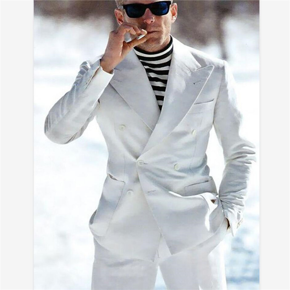New Men's Suit Smolking Noivo Terno Slim Fit Easculino Evening Suits For Men White Breasted Groom Clothes For Man (Jacket+Pants)