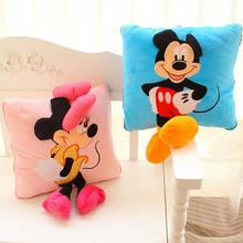 new 35cm Creative 3D Mickey Mouse and Minnie Plush Pillow Kawaii Toys Kids Christmas Gifts