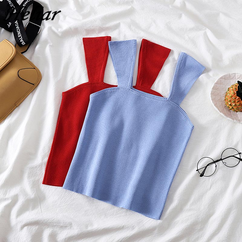 HELIAR Summer Female Vest Camisole Knitting Camis Sexy Crop   Top   Solid Cotton Camisole Femme Camis Women   Top   2019   Tank     Top   Femme
