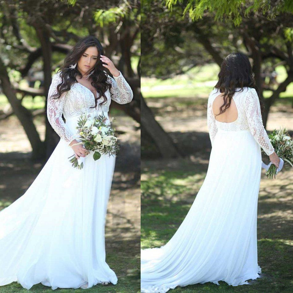 Plus Size Long Sleeve 2020 Wedding Dresses Lace Appliqued Sheer V Neck Bridal Gowns Bohemian Garden Country Wedding Dress Robe D