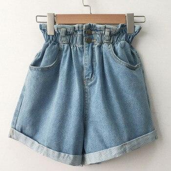 Women Casual Summer High Waist Denim Shorts Loose Ladies Fashion Roll Up Hem Elastic Waist Pocket Blue White Jeans Female 2020 roll up hem denim shorts with belt