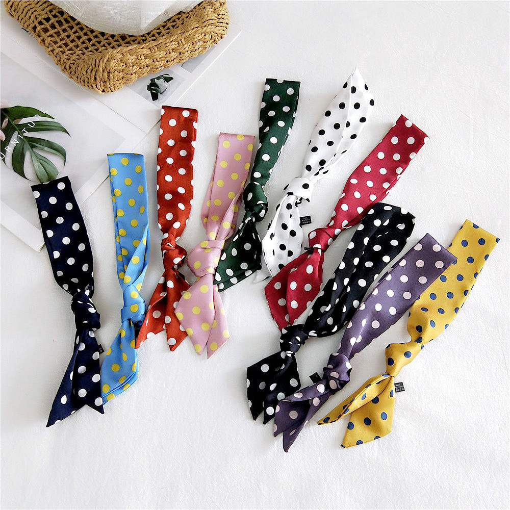 2020 New Spring Summer Women's Polka Dot Printed Silk Stain Hair Ribbon Tie Scarf Female Black White Green Yellow Bag Scarves
