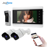 Jeatone 7 Inch Wireless WiFi Smart IP Video Door Phone Intercom System with 2x720P Surveillance Camera,Support Motion Detection