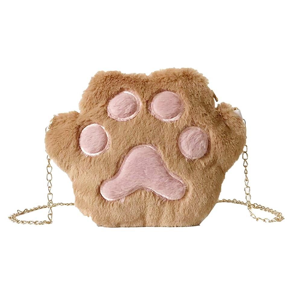1 Pcs Women Student Shoulder Crossbody Bag Cute Plush Cat Paw For Mobile Phone -OPK
