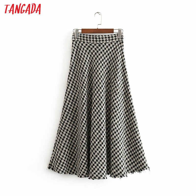 Tangada Женская клетчатая миди юбка Зимняя элегантная Офисная Женская мода толстые длинные юбки женские юбки mujer 3H01