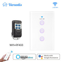WiFi Smart Wall Light Switch Glass Panel RF433&Wi-Fi Life Tuya APP Remote Control Works With Alexa Google Home led light